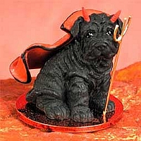 Shar Pei Black Devilish Pet Figurine