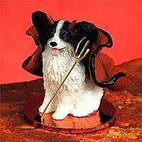 Papillon Black & White Devilish Pet Figurine