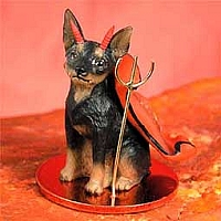 Miniature Pinscher Tan & Black Devilish Pet Figurine