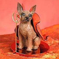 Miniature Pinscher Red & Brown Devilish Pet Figurine