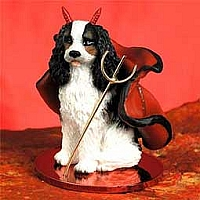 Cavalier King Charles Spaniel Black & White Devilish Pet Figurine