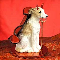 Whippet Tan & White Devilish Pet Figurine