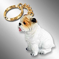 Bulldog White Key Chain