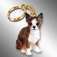 Chihuahua Brindle & White Key Chain