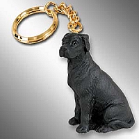Great Dane Black w/Uncropped Ears Key Chain