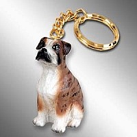 Boxer Brindle w/Uncropped Ears Key Chain