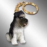Schnauzer Gray w/Uncropped Ears Key Chain