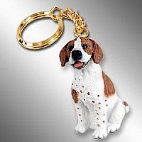 Pointer Brown & White Key Chain