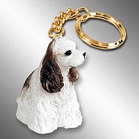 Cocker Spaniel Brown & White Key Chain