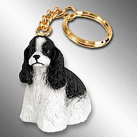 Cocker Spaniel Black & White Key Chain