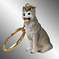 Husky Gray & White w/Brown Eyes Key Chain