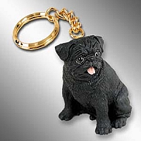 Pug Black Key Chain