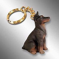 Doberman Pinscher Red w/Cropped Key Chain