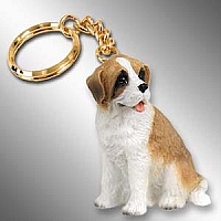 Saint Bernard w/Rough Coat Key Chain