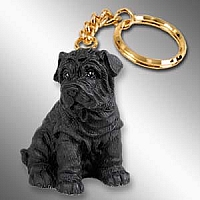 Shar Pei Black Key Chain