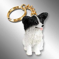 Papillon Black & White Key Chain