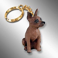 Miniature Pinscher Red & Brown Key Chain
