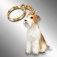 Wire Fox Terrier Red Key Chain