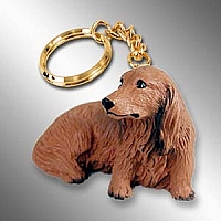 Dachshund Longhaired Red Key Chain