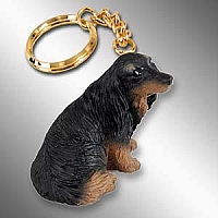 Dachshund Longhaired Black Key Chain