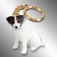 Jack Russell Terrier Brown & White w/Rough Coat Key Chain