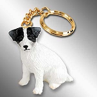 Jack Russell Terrier Black & White w/Rough Coat Key Chain