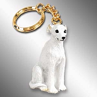 Whippet White Key Chain