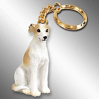 Whippet Tan & White Key Chain