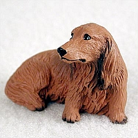 Dachshund Longhaired Red Tiny One Figurine