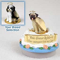 Shih Tzu Black & White w/Sport Cut Candle Topper Tiny One Pet Angel Ornament
