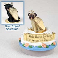 Pug Black Candle Topper Tiny One Pet Angel Ornament