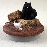 Pomeranian Black Candle Topper Tiny One