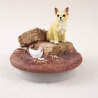 Chihuahua Tan & White Candle Topper Tiny One