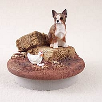 Chihuahua Brindle & White Candle Topper Tiny One