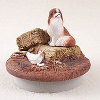 Japanese Chin Red & White Candle Topper Tiny One