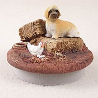 Lhasa Apso Brown w/Sport Cut Candle Topper Tiny One