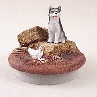 Husky Black & White w/Blue Eyes Candle Topper Tiny One