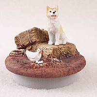 Husky Red & White w/Blue Eyes Candle Topper Tiny One