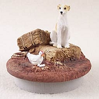 Whippet Tan & White Candle Topper Tiny One