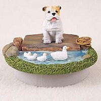 Bulldog White Candle Topper Tiny One