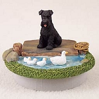 Schnauzer Black w/Uncropped Ears Candle Topper Tiny One