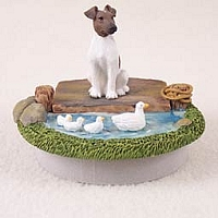 Fox Terrier Brown & White Candle Topper Tiny One