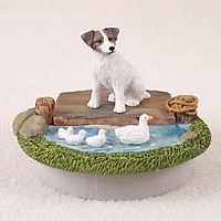Jack Russell Terrier Brown & White w/Rough Coat Candle Topper Tiny One