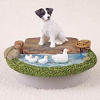 Jack Russell Terrier Black & White w/Rough Coat Candle Topper Tiny One