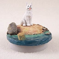German Shepherd White Candle Topper Tiny One
