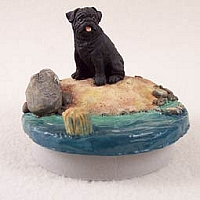 Pug Black Candle Topper Tiny One