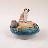 Saint Bernard w/Smooth Coat Candle Topper Tiny One