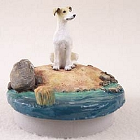 Greyhound Tan & White Candle Topper Tiny One