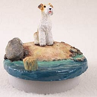 Wire Fox Terrier Red Candle Topper Tiny One