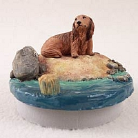 Dachshund Longhaired Red Candle Topper Tiny One